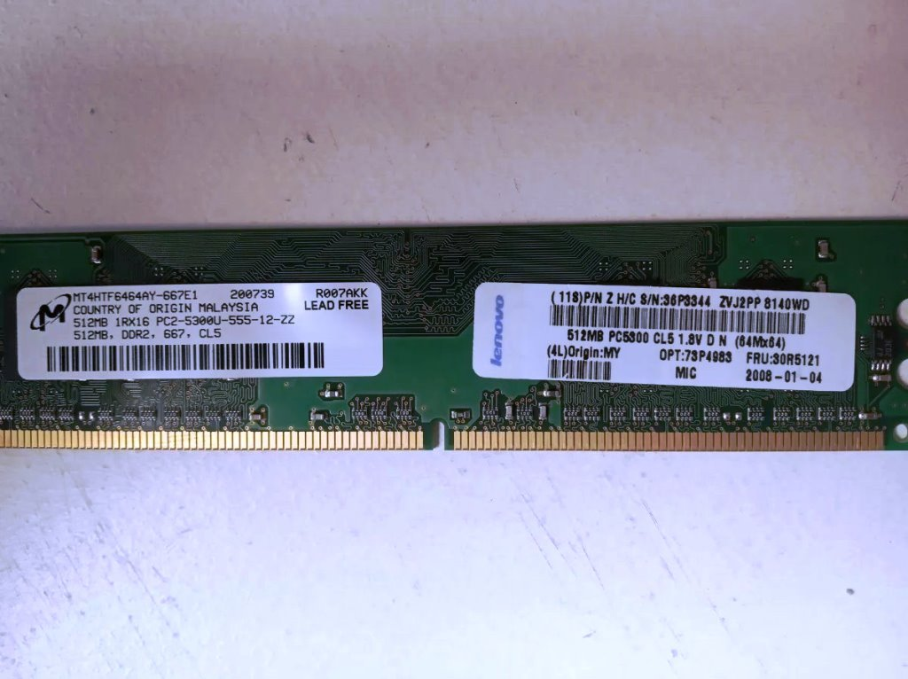 Memoria RAM DDR2, 512Mb, UDIMM, 240pin, PC2-5300u, 73P4983